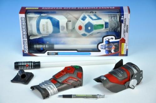 AKCE Sada vesmírný bojovník meč 32cm + doplňky na baterie se světlem se zvukem asst 2 barvy