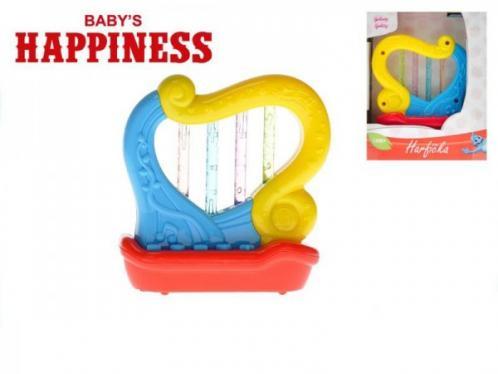 Harfička plast 11cm na baterie se zvukem a světlem Baby´s Happiness