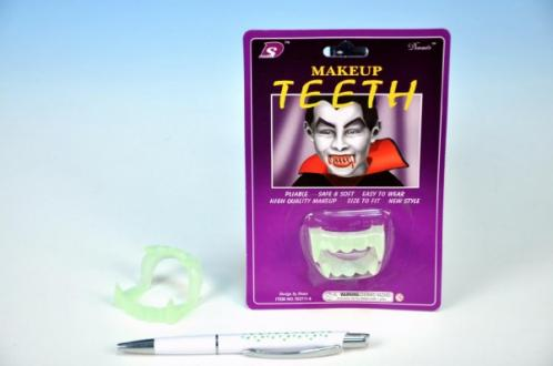 Zuby upíří svítící 4cm plast na kartě karneval