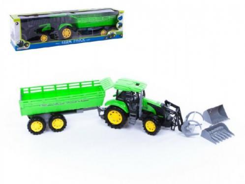 Zelený traktor s přívěsem a radlicí 3ks plast 80cm