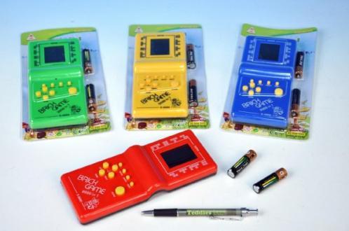 Digitální hra Brick Game Tetris plast 19cm na baterie asst 4 barvy