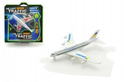 Letadlo kov/plast 13cm asst 2 barvy