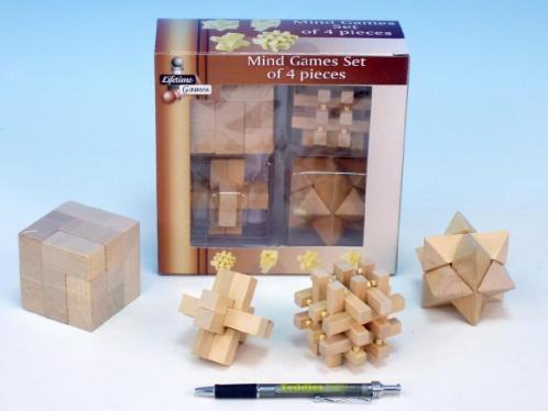 Hlavolam dřevěný 7cm 4ks v krabici