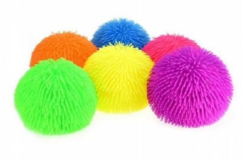 Gumový míč chlupatý průměr 19cm asst 6 barev