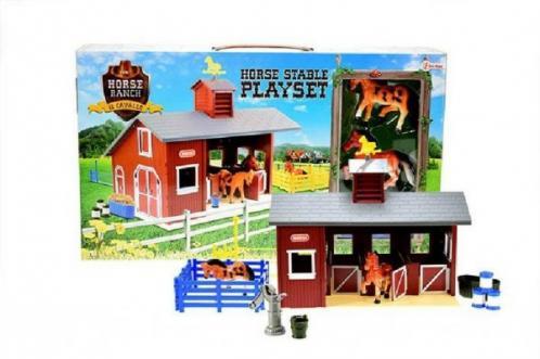 Stáj pro koně + kůň 2ks s doplňky plast v krabici 42x25x7cm