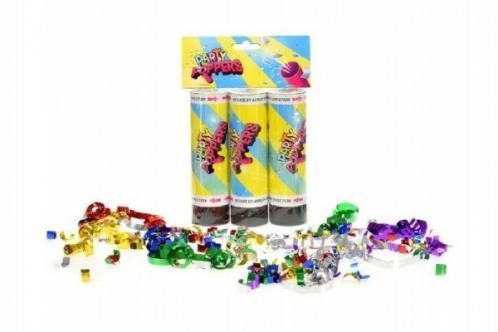 Konfety vystřelovací 15x4cm 3ks v sáčku karneval