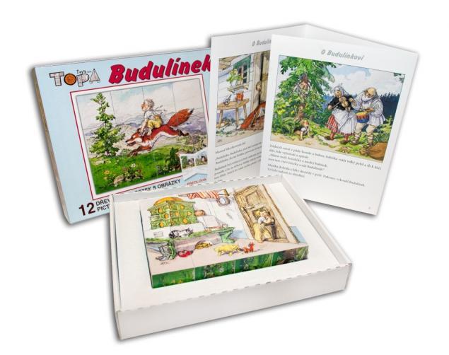Dřevěné obrázkové kostky Budulínek