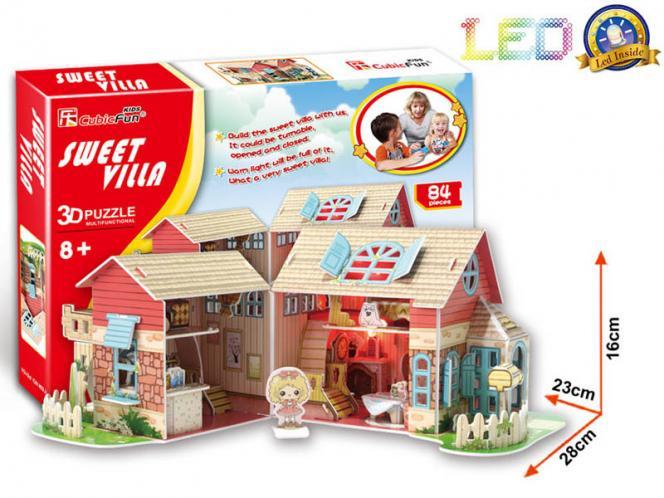 Puzzle 3D Dům sladká víla / led - 84 dílků