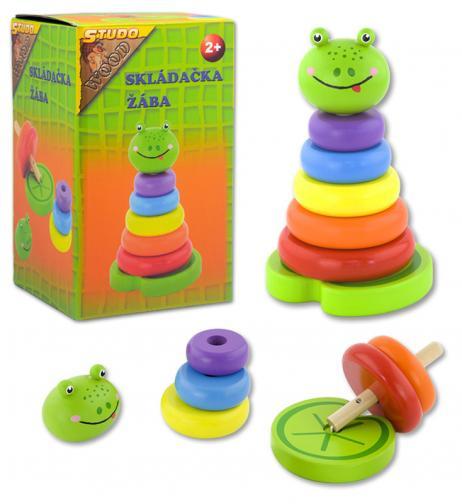 Barevné kroužky skládačka - žába dřevěná