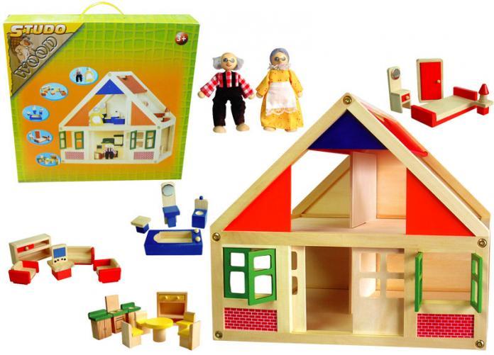 Domeček dřevěný + figurky + vybavení