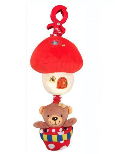 Dětská plyšová hračka se zvukem Baby Mix Medvídek červený Červená