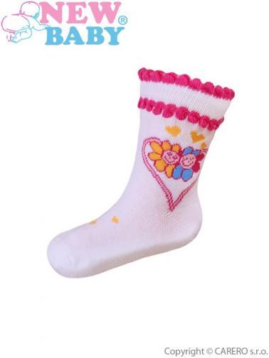 Kojenecké bavlněné ponožky New Baby bílé se srdíčkem a kytičkami Bílá 74 (6-9m)