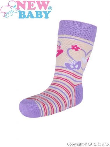Dětské bavlněné ponožky New Baby béžové s motýlem Béžová 98 (2-3r)