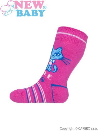 Dětské bavlněné ponožky New Baby růžové s pruhy little cats Růžová 104 (3-4r)
