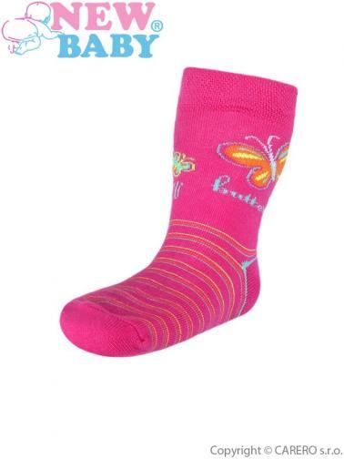 Dětské bavlněné ponožky New Baby růžové s pruhy butterfly Růžová 104 (3-4r)