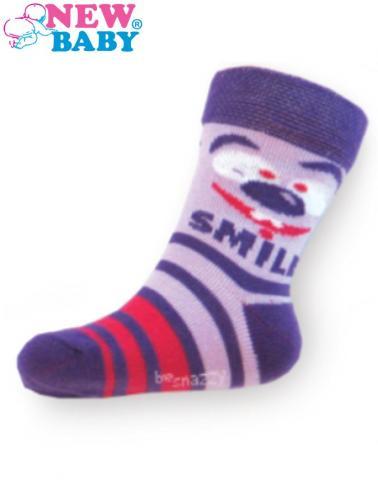 Dětské bavlněné ponožky New Baby fialové s pruhy smile Fialová 104 (3-4r)