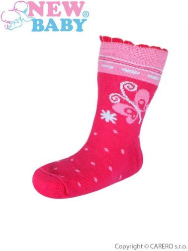 Dětské bavlněné ponožky New Baby růžové s motýlem Růžová 116 (5-6 let)