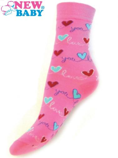 Dětské bavlněné ponožky New Baby růžové love you Růžová 116 (5-6 let)