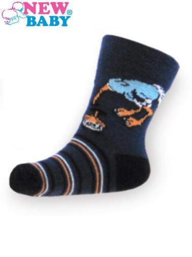 Dětské bavlněné ponožky New Baby tmavě modré s pštrosem Tmavě modrá 98 (2-3r)