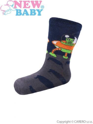 Dětské bavlněné ponožky New Baby šedé s ufo Šedá 98 (2-3r)
