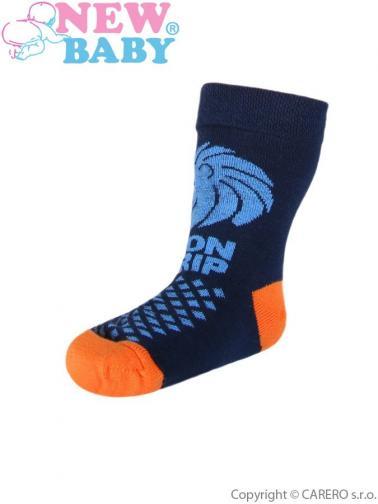 Dětské bavlněné ponožky New Baby tmavě modré lion grip Tmavě modrá 104 (3-4r)
