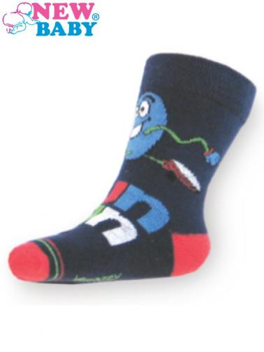 Dětské bavlněné ponožky New Baby tmavě modré fun run Tmavě modrá 104 (3-4r)