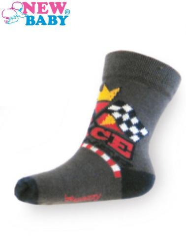 Dětské bavlněné ponožky New Baby tmavě šedé race winner Tmavě šedá 104 (3-4r)