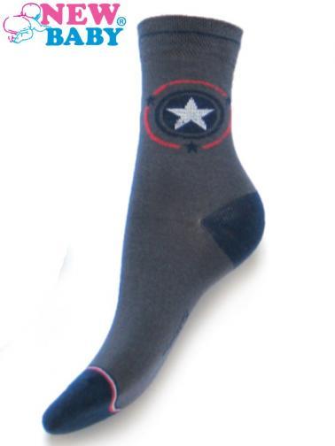 Dětské bavlněné ponožky New Baby šedé s hvězdičkou Šedá 116 (5-6 let)