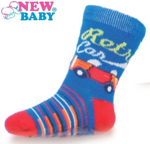 Dětské ponožky New Baby s ABS modré retro car Modrá 74 (6-9m)