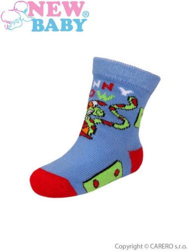 Dětské ponožky New Baby s ABS modré funny cow Modrá 80 (9-12m)