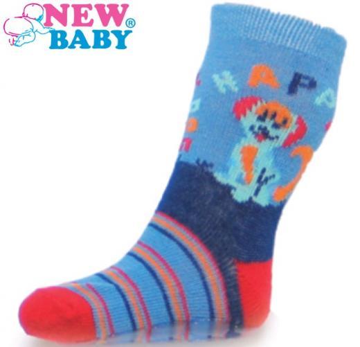 Dětské ponožky New Baby s ABS modré happy dog Modrá 86 (12-18m)