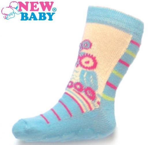 Dětské ponožky New Baby s ABS modro-béžové se sovou Modrá 74 (6-9m)