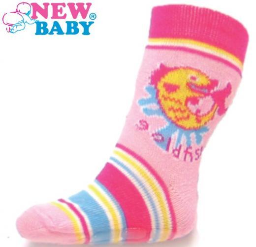Dětské ponožky New Baby s ABS růžové gold fish Růžová 74 (6-9m)