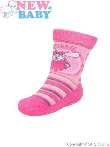 Dětské ponožky New Baby s ABS růžové rabbit Růžová 80 (9-12m)