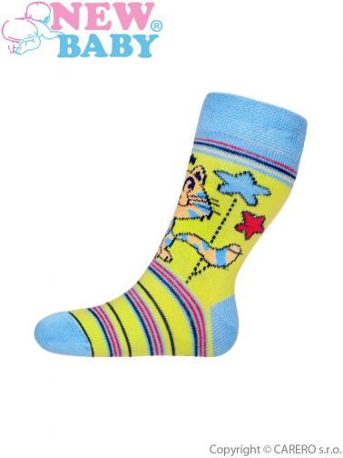 Dětské bavlněné ponožky New Baby zelené s kočičkou Zelená 98 (2-3r)