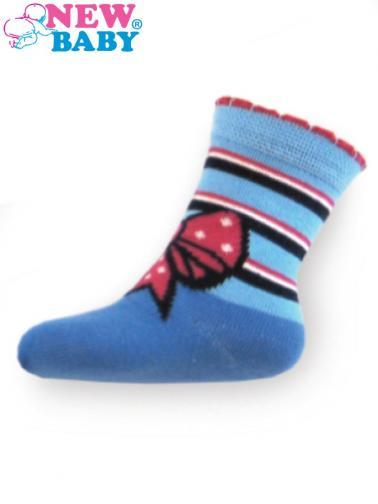 Dětské bavlněné ponožky New Baby modré s mašličkou Modrá 98 (2-3r)