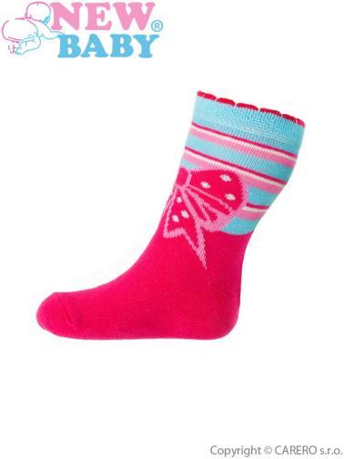 Dětské bavlněné ponožky New Baby růžové s mašličkou Růžová 98 (2-3r)
