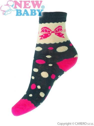 Dětské bavlněné ponožky New Baby béžovo-šedé s mašlí a kolečky Béžová 116 (5-6 let)