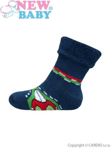 Dětské froté ponožky New Baby zeleno-modré s autíčkem Zelená 62 (3-6m)