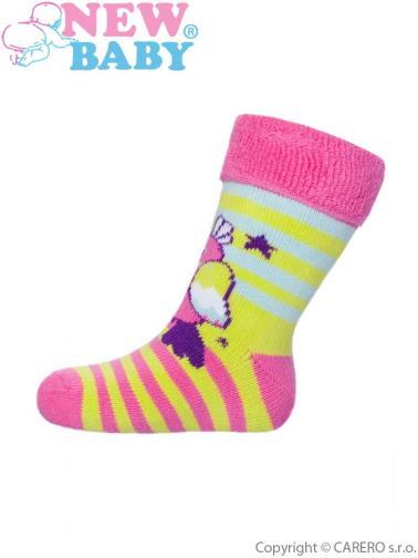 Dětské froté ponožky New Baby růžovo-žluté s ptáčkem Růžová 74 (6-9m)