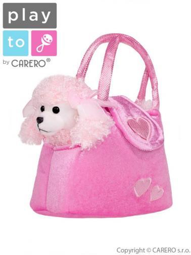 Dětská plyšová hračka PlayTo Pejsek v kabelce růžová Růžová