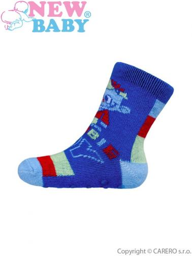 Kojenecké ponožky New Baby s ABS modré zombie boy Modrá 62 (3-6m)