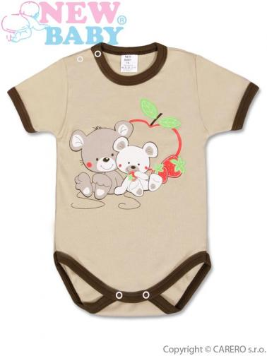 Hnědé dětské body s krátkým rukávem vel. 74 New Baby Myšky s jahůdkou