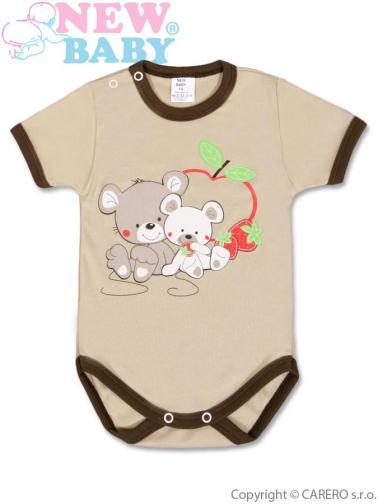 Hnědé dětské body s krátkým rukávem vel. 86 New Baby Myšky s jahůdkou