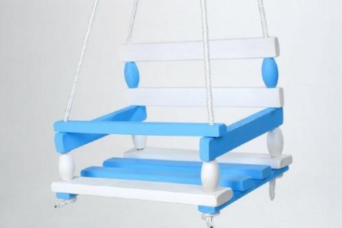 Houpačka dřevo modrá 38x30cm