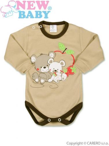 Hnědé dětské body s dlouhým rukávem vel. 86 New Baby Myšky s jahůdkou