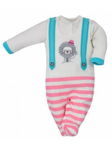 2-dílná stylová bavlněná soupravička Koala Alex tyrkysovo-růžová Bílá 68 (4-6m)