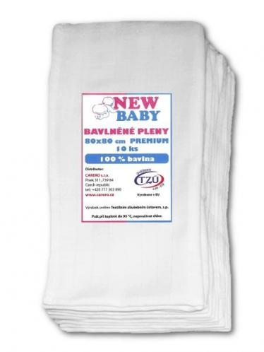 Bavlněné pleny NEW BABY 80x80 cm PREMIUM Bílé