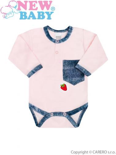 Kojenecké body New Baby Dark Jeansbaby růžové Růžová 62 (3-6m)