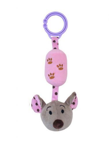 Dětská plyšová hračka s rolničkou Baby Mix myška růžová Růžová